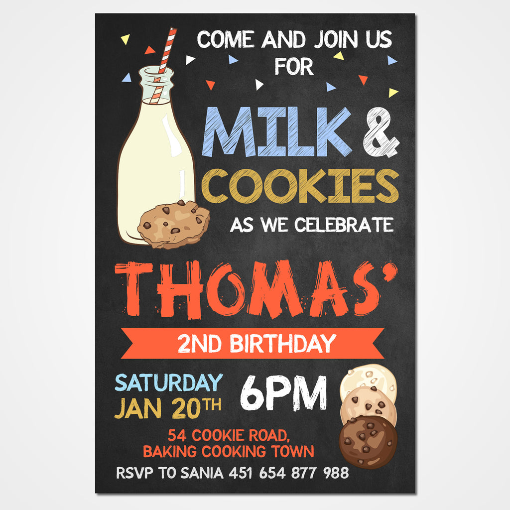 Milk and Cookies Invitation