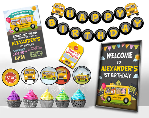 The Wheels On The Bus Birthday Set