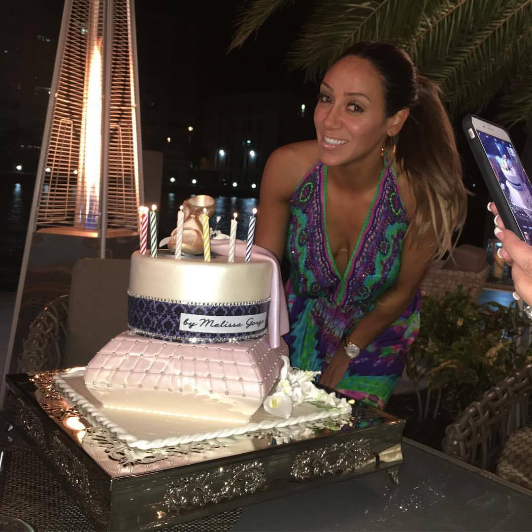 Melissa Gorga celebrates her birthday in style by wearing a Shahida Parides popular Sarina Blue on season 8 premiere of The Real Housewives of New Jersey.