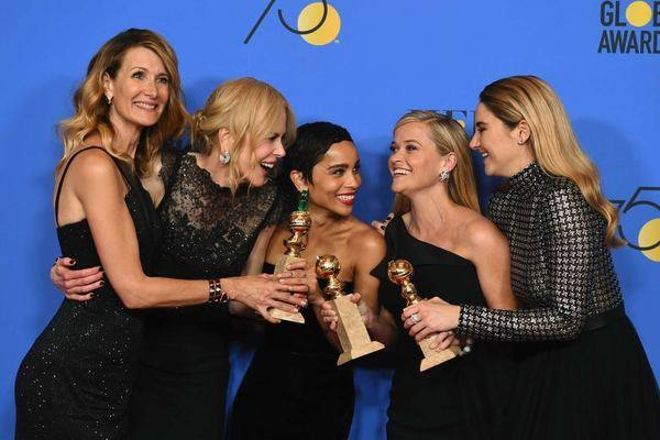 The cast of Big Little Lies celebrate their win