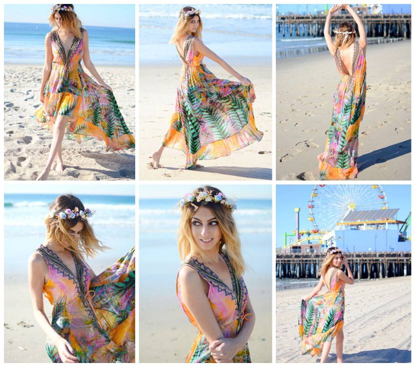 Lainey wearing Shahida Parides Queen Palm Hi-Low Dress with Plunging V-Neck