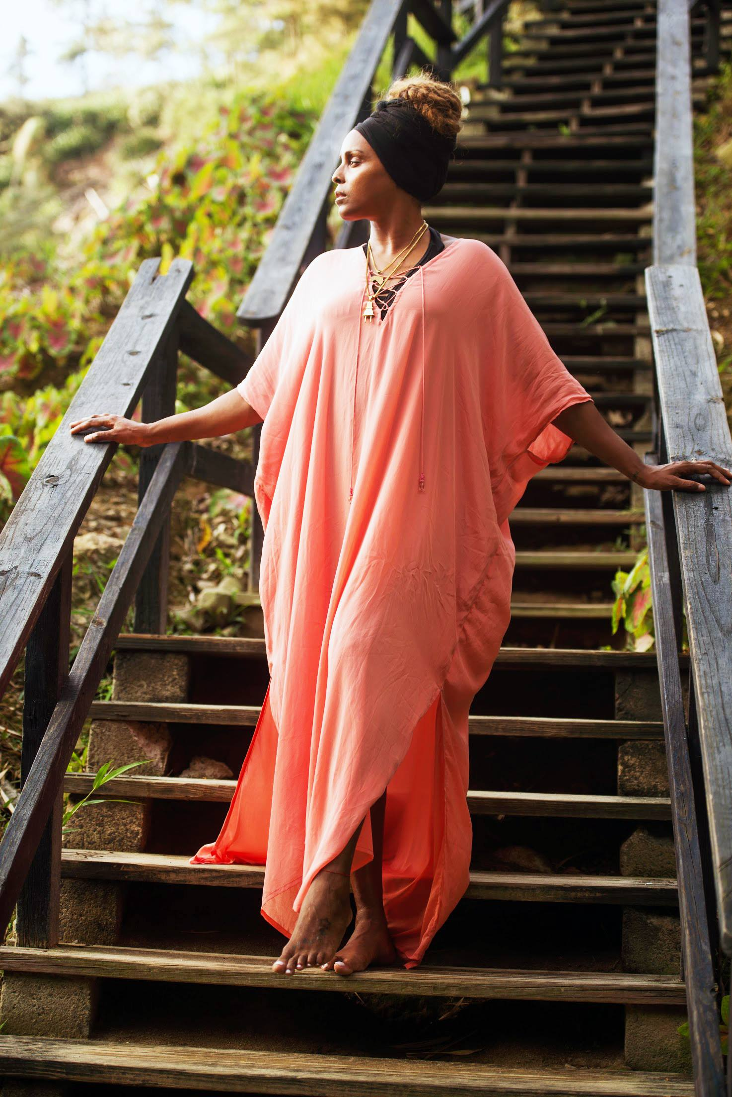 Singer-songwriter and producer, Angela Hunte, wears Shahida Parides in St Lucia.