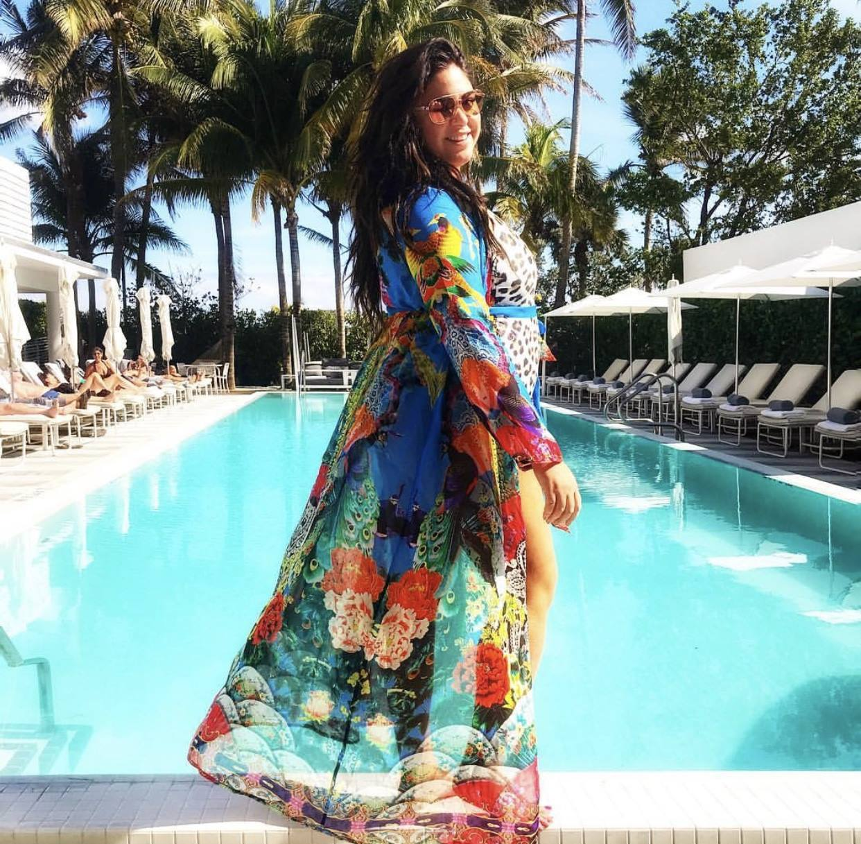 Roxy Earle, from the Real Housewives of Toronto, took a stylish vacation in Miami, Florida, with our new designer dresses including our kaftans and dusters.