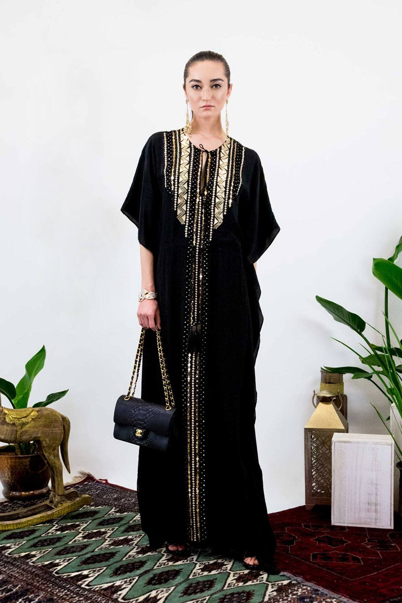 Shahida Parides releases new holiday kaftan line made fom a from soft tactile design and detailed embellishments for a luxurious feel and look.