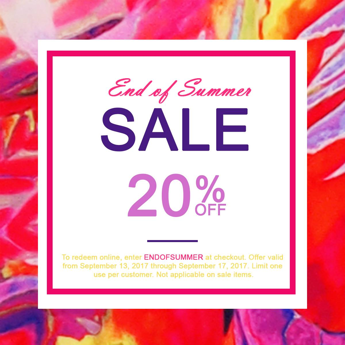 Shahida Parides is having an end of summer sale, which includes a 20% off all regular priced items.