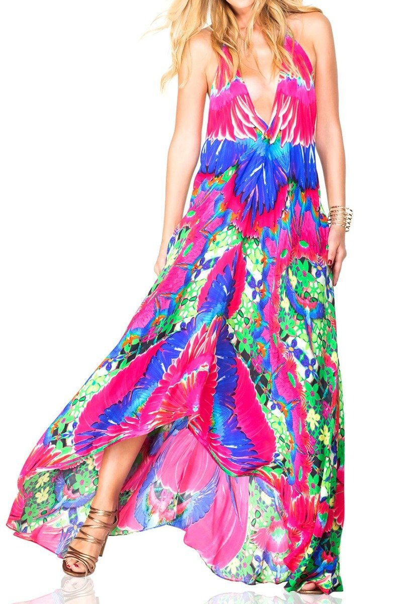Multi-way Halter Style Dress in Feather Print