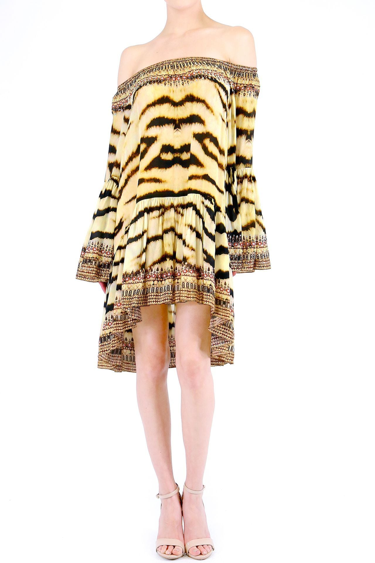 Off Shoulder Short Dress in Tiger Print