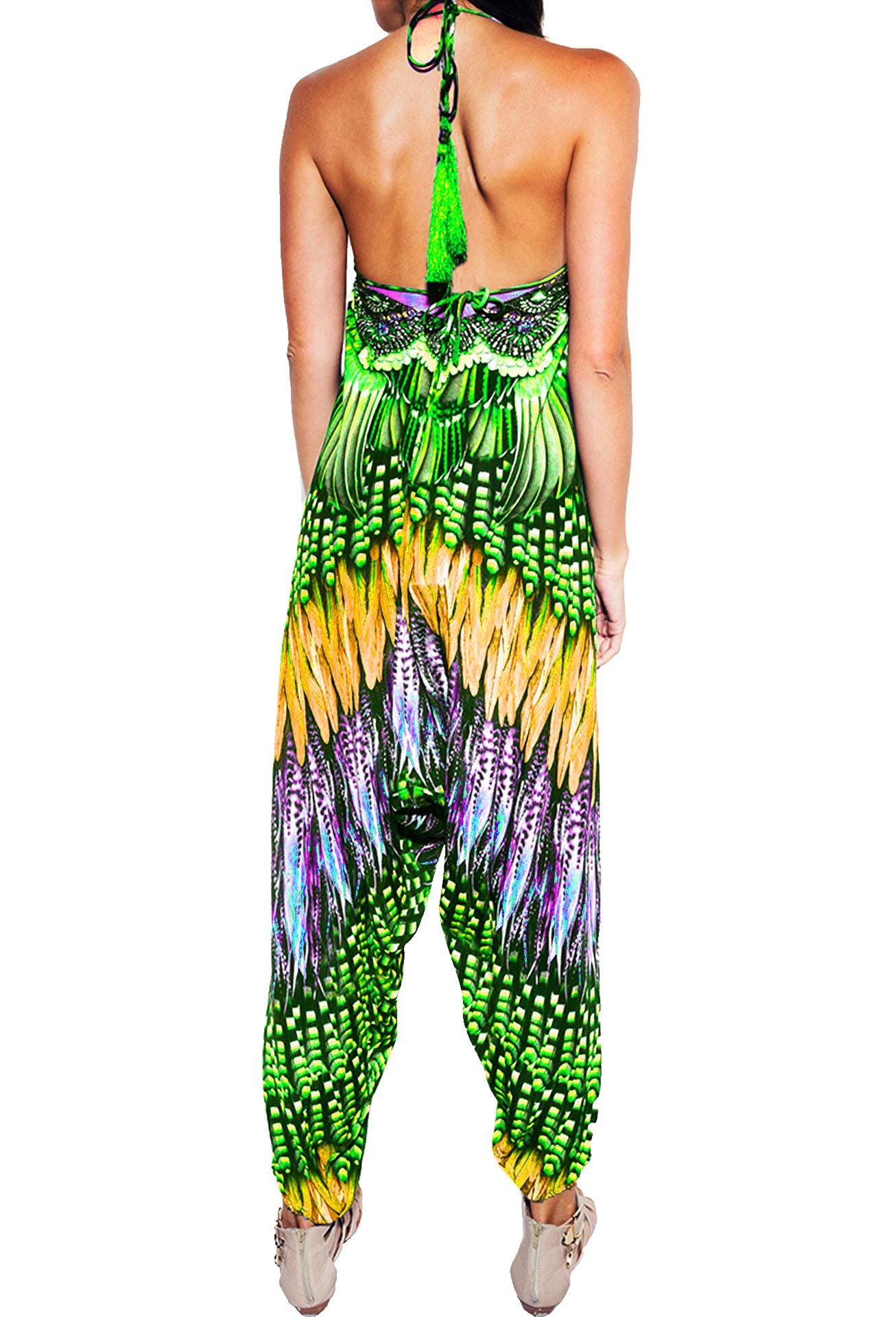 Printed Herem Jumpsuit in Green