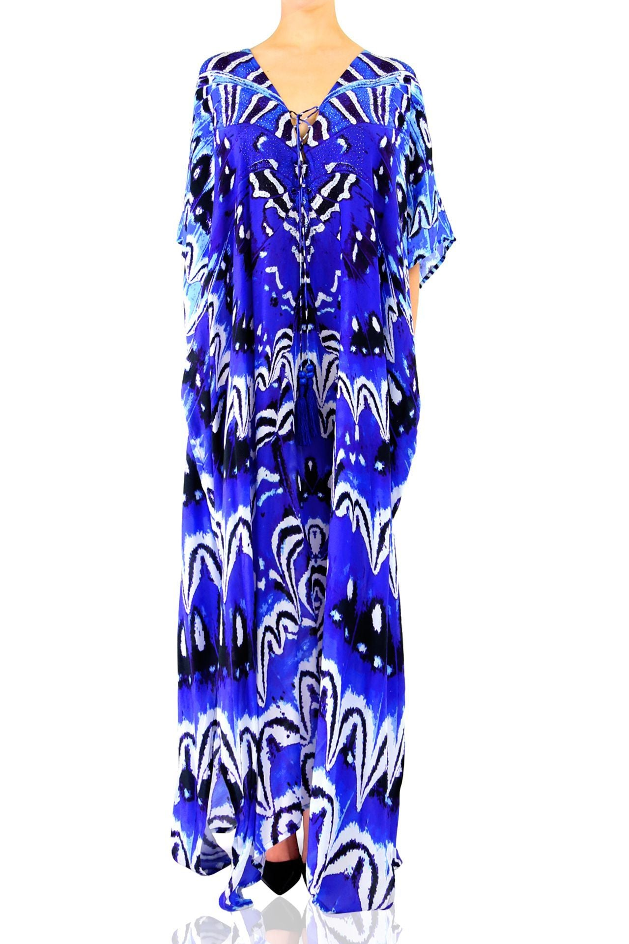 Long Kaftan in Blue print