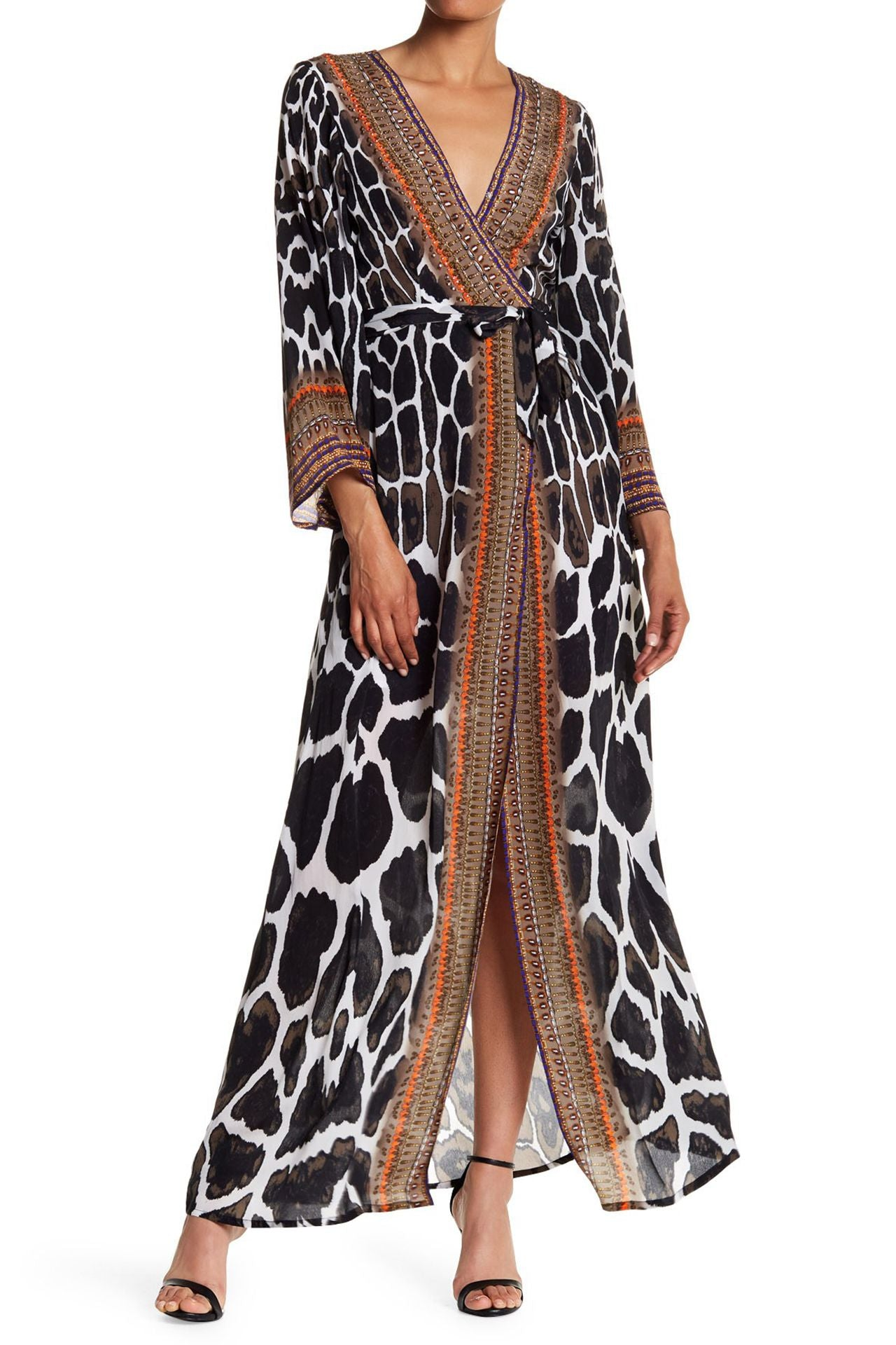 Animal Print Wrap Dress in Caviar Black
