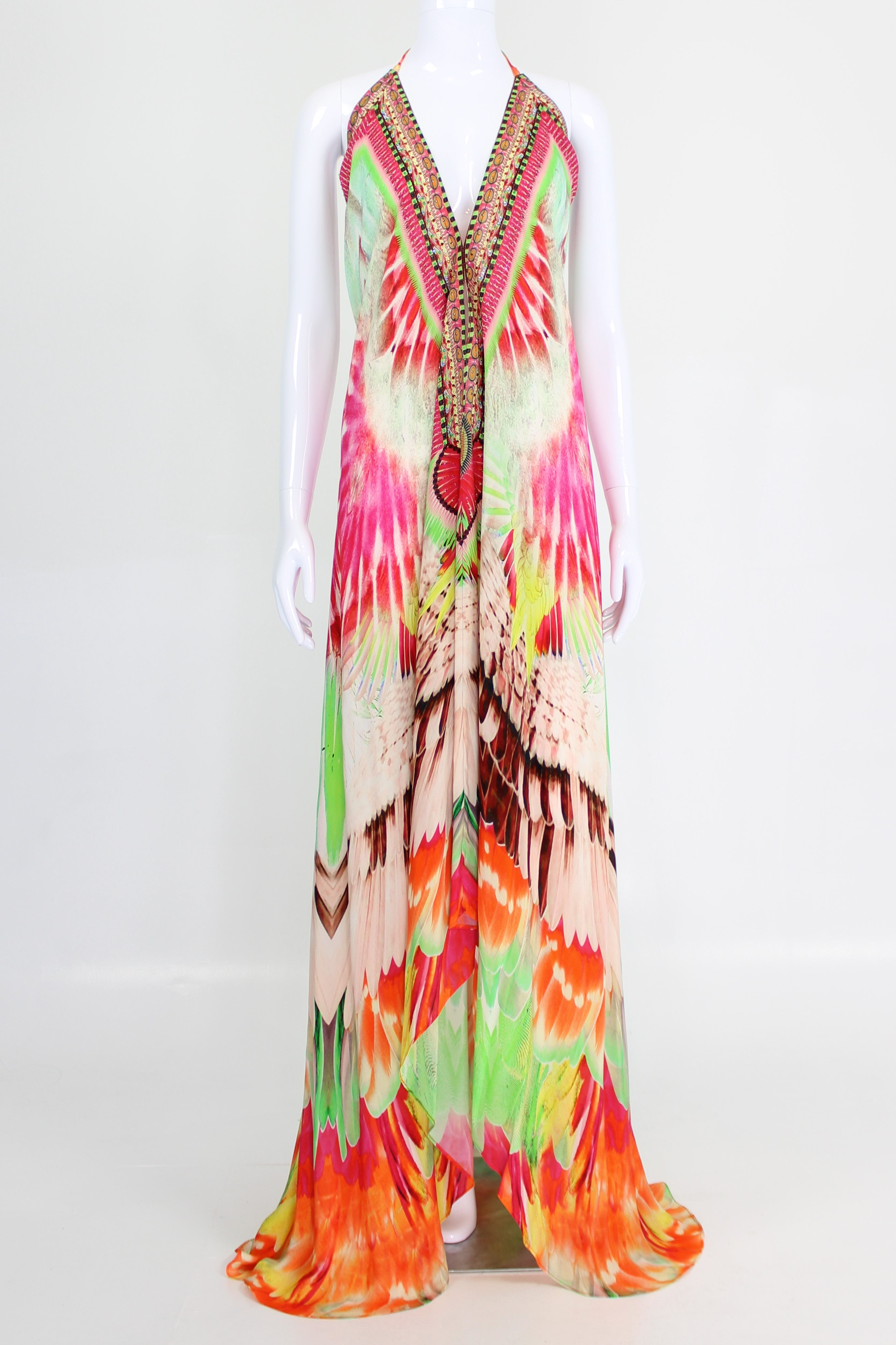 Designer Backless Maxi  Drss In Flamingo