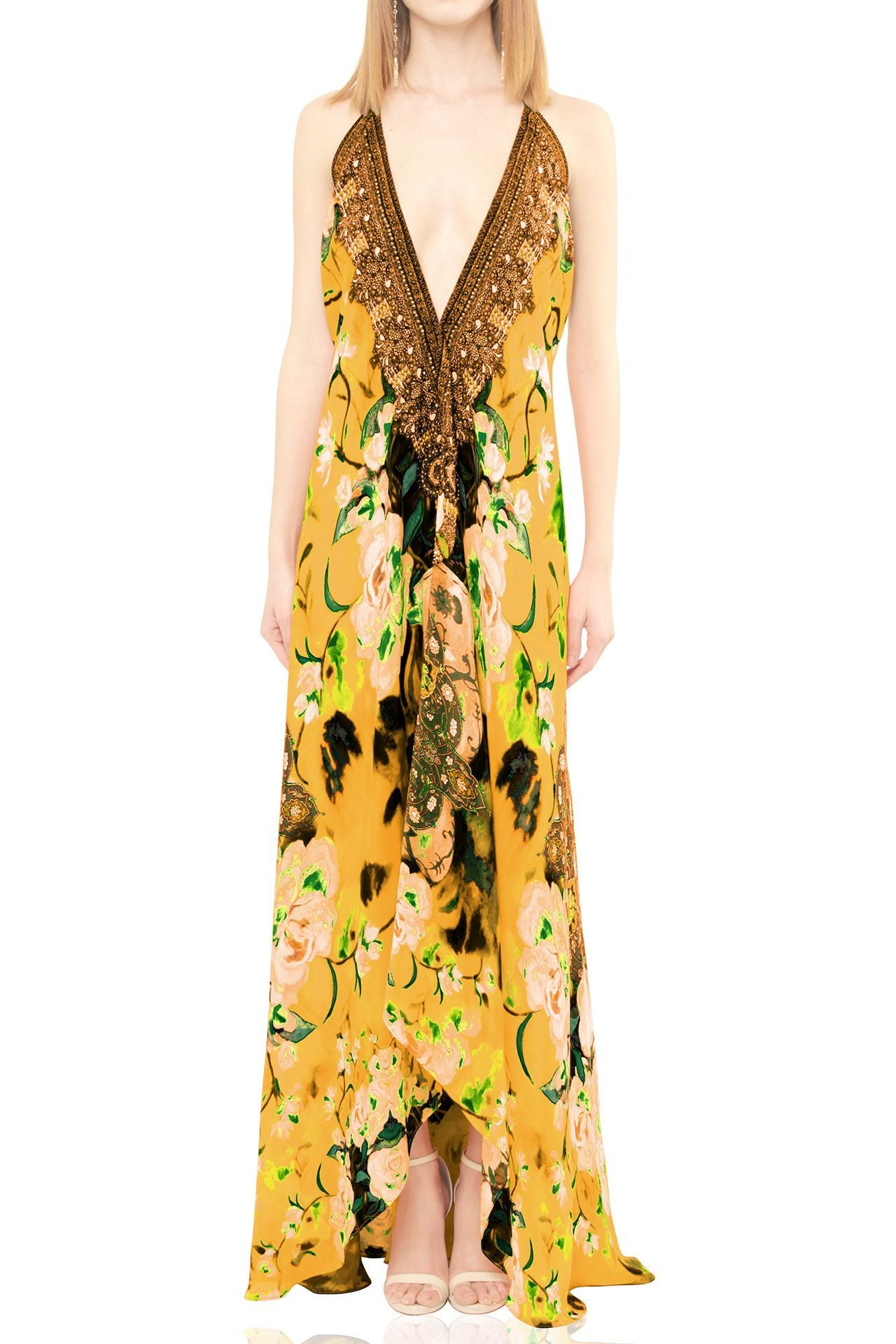 Yellow Multiway Maxi Dress in Floral Print