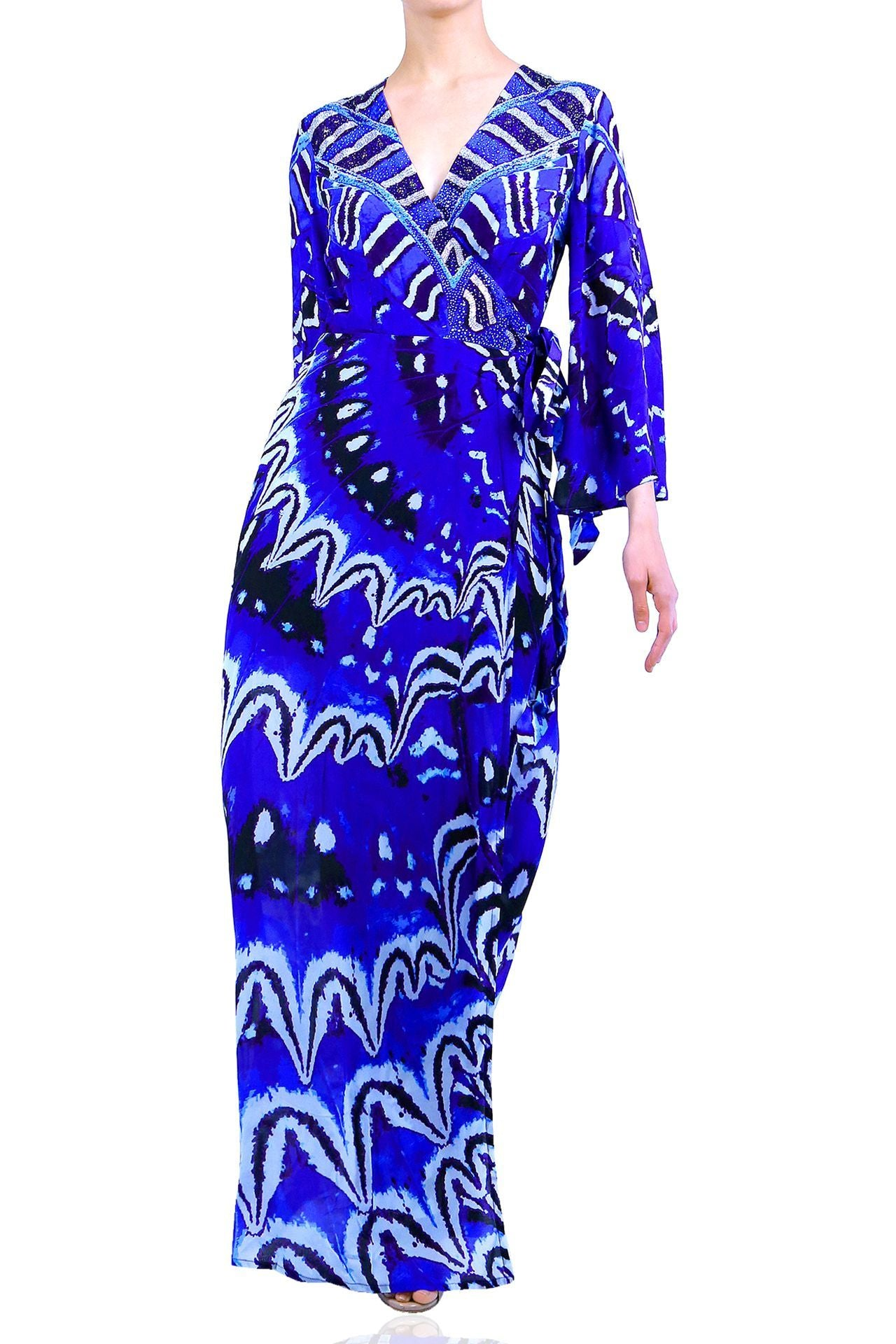 Long Wrap Dress in Blue