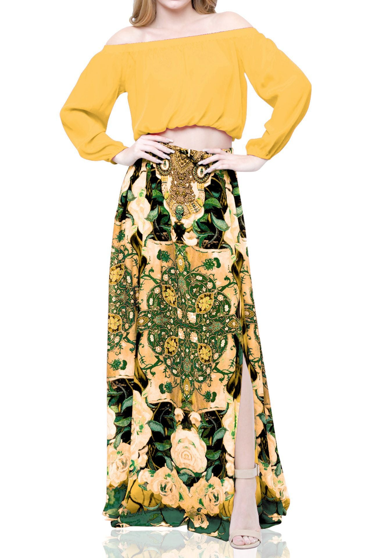 Yellow Maxi Skirt In Floral Print