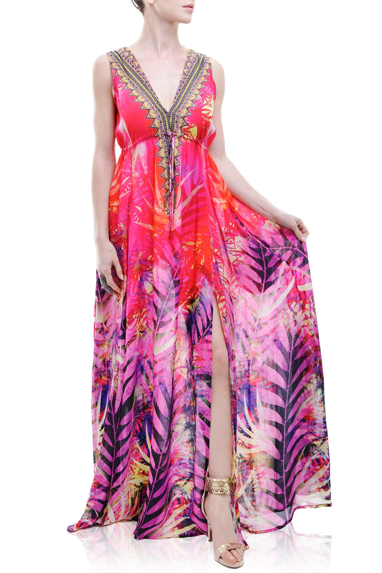 Red Tropical Print A Line Maxi Dress