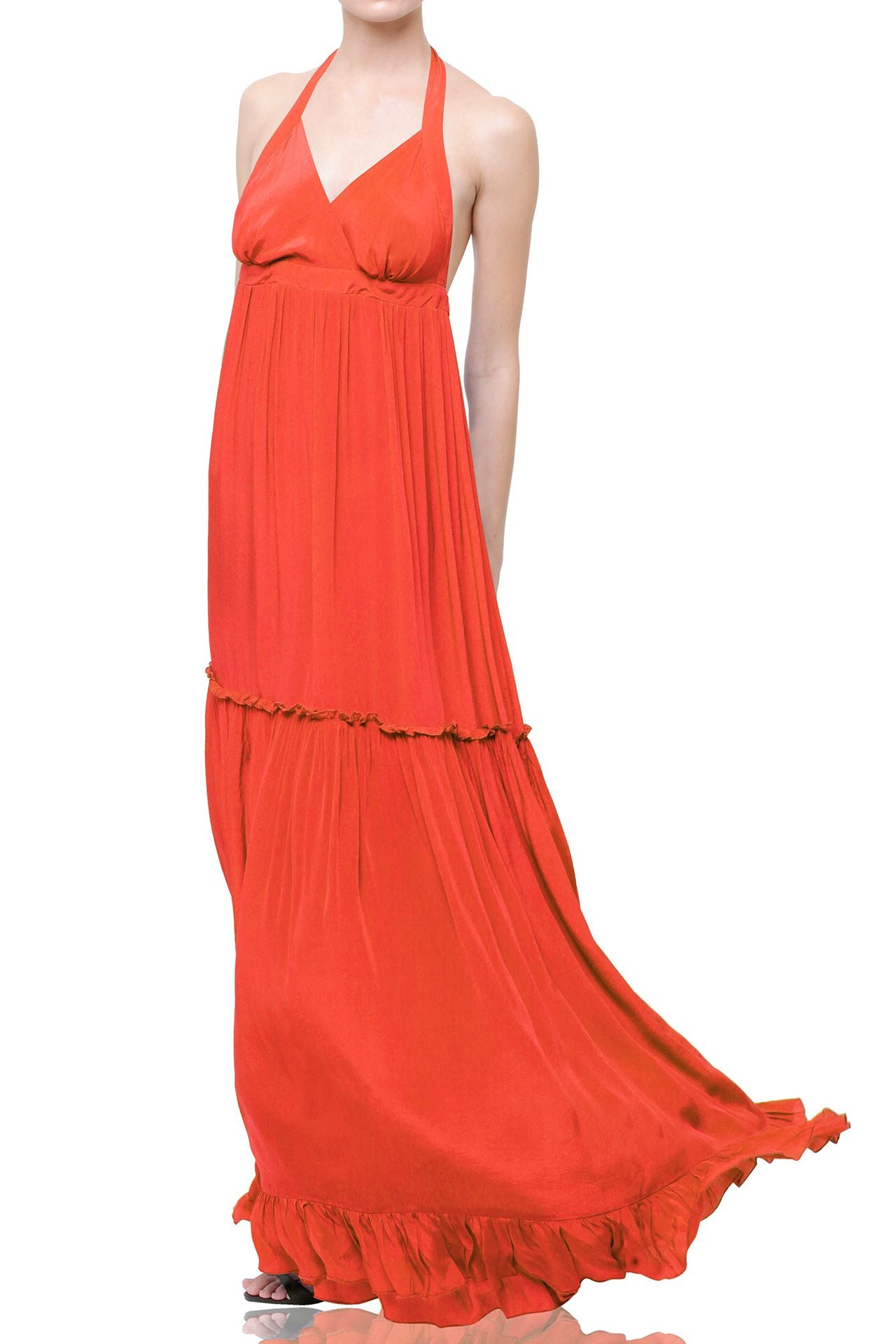 Backless Halter Long Dress In Oxi Fire