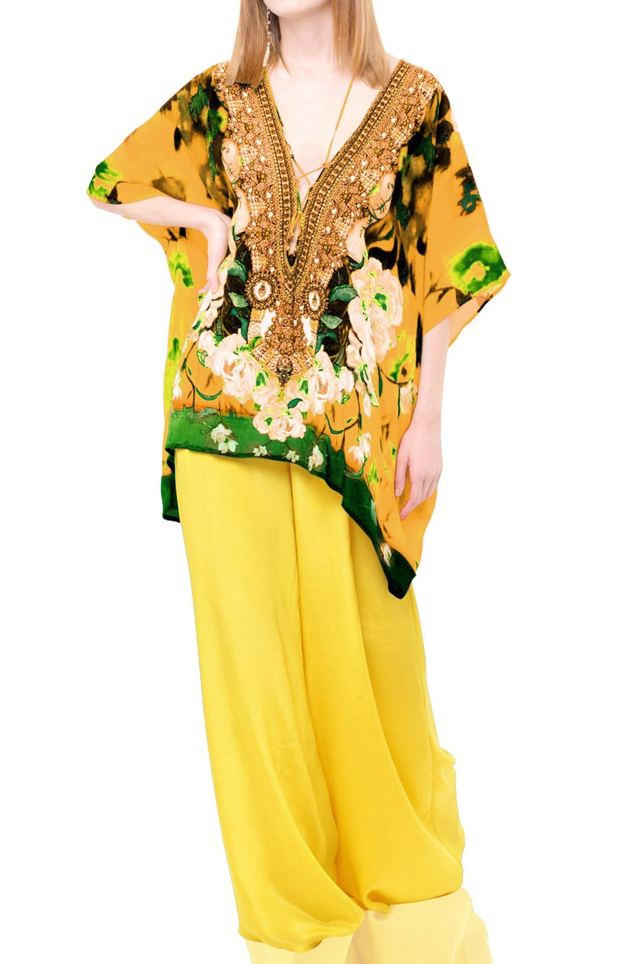 Yellow caftan tops Floral Print
