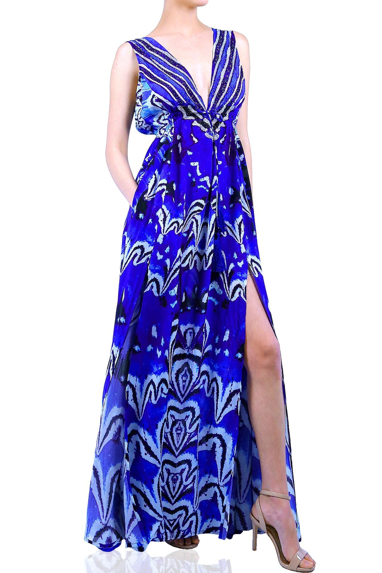 V Neck Maxi in Blue