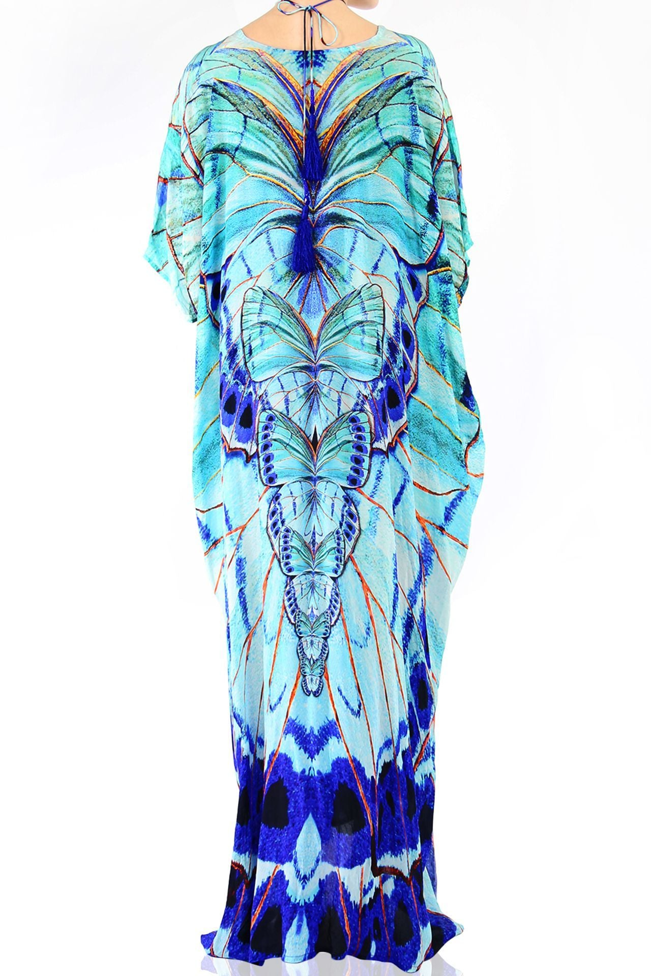 Aqua Blue Long Kaftan Blue