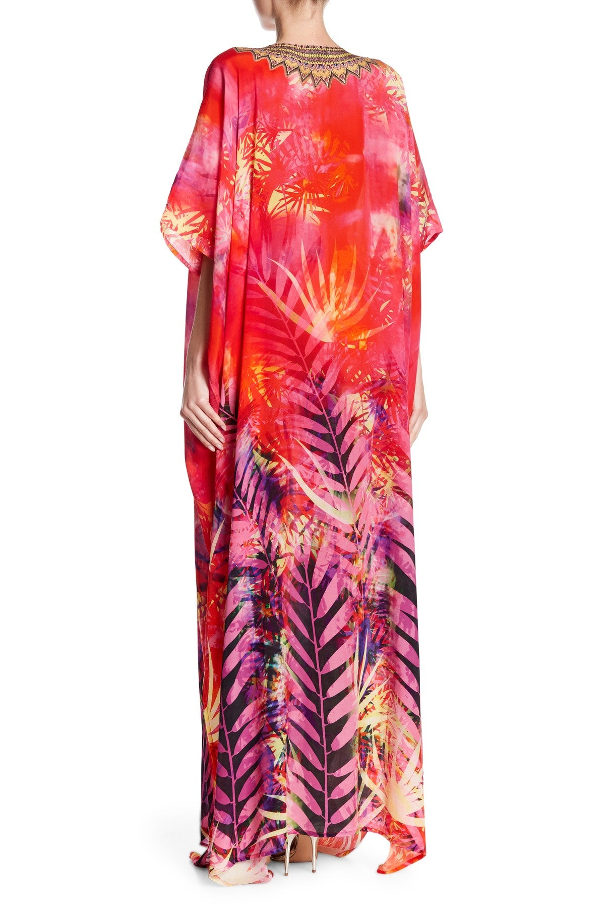 Loungewear Red Kaftan in Tropical Print