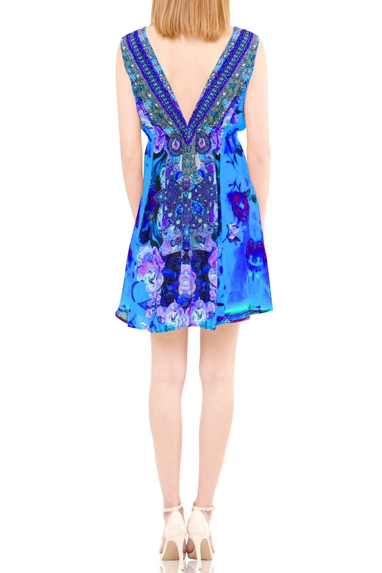 Rose Printed Short Dress-Azure