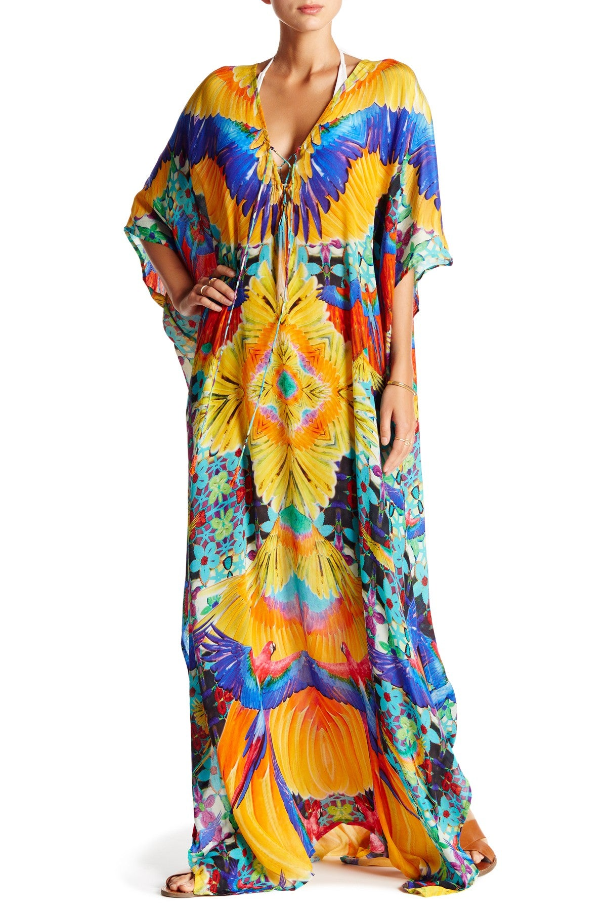 Tropical Print Luxury Long Lace-Up Kaftan