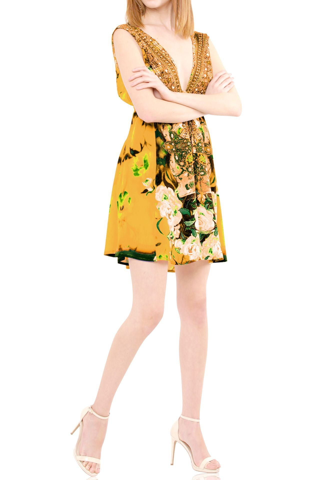 Yellow Short Dress Floral Print