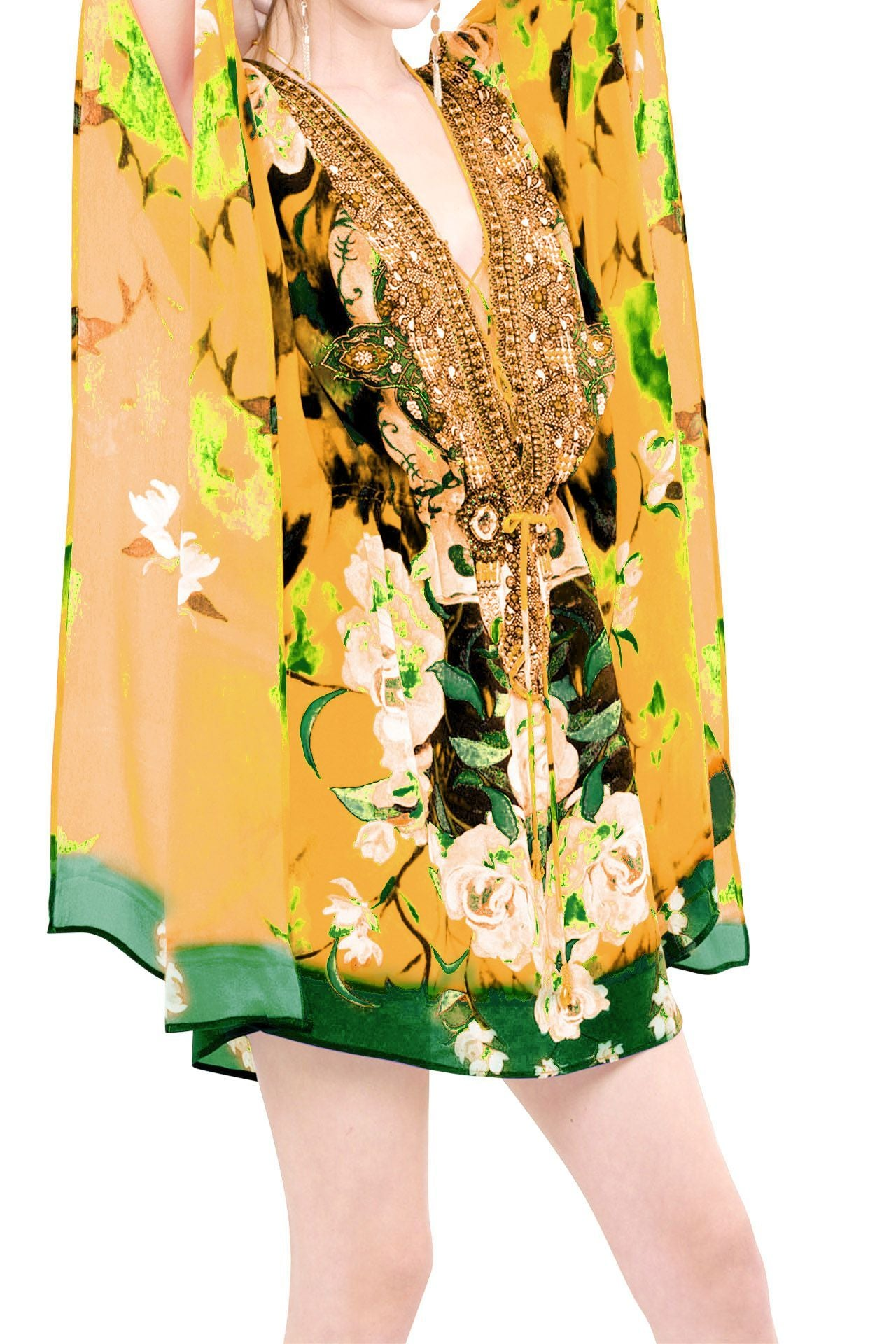 Yellow Short Kaftan - Floral Print