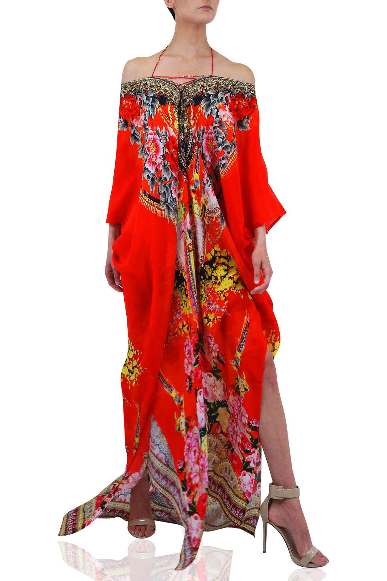 Long Kaftan Dress In Floral Print