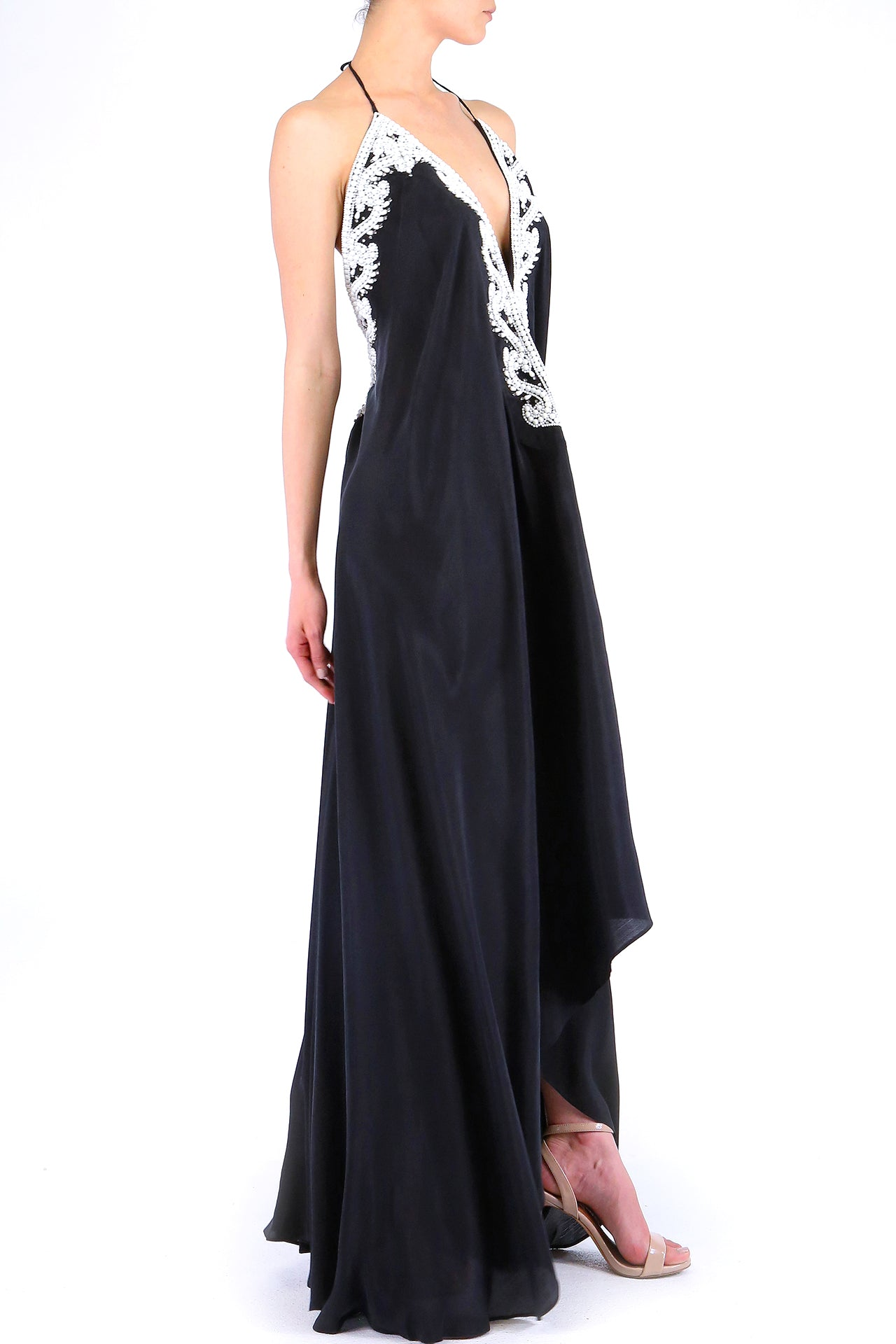 Backless Maxi In Caviar Black White Embellised