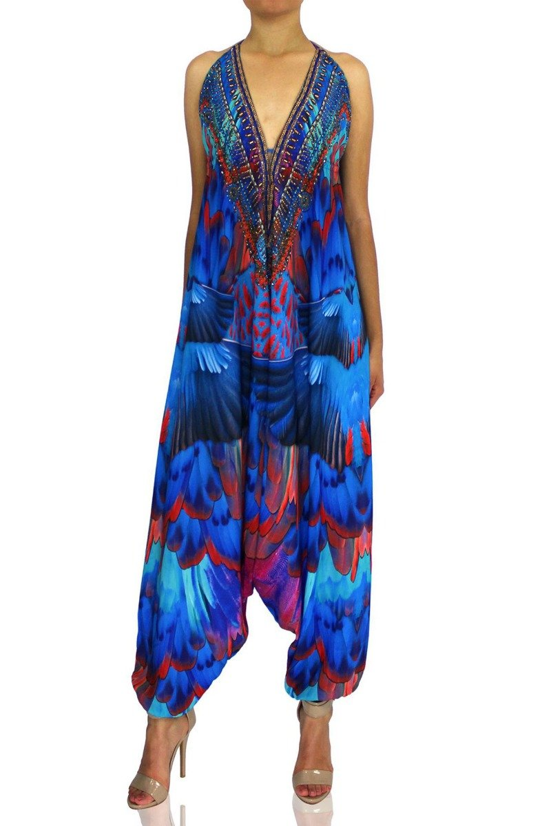 Women's Jumpsuit In Feather Print