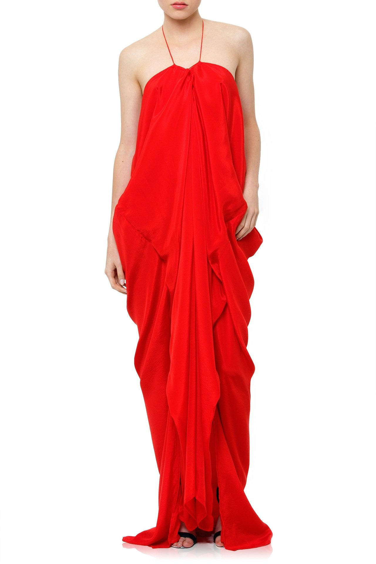 V Neck Kaftan Dress in RED