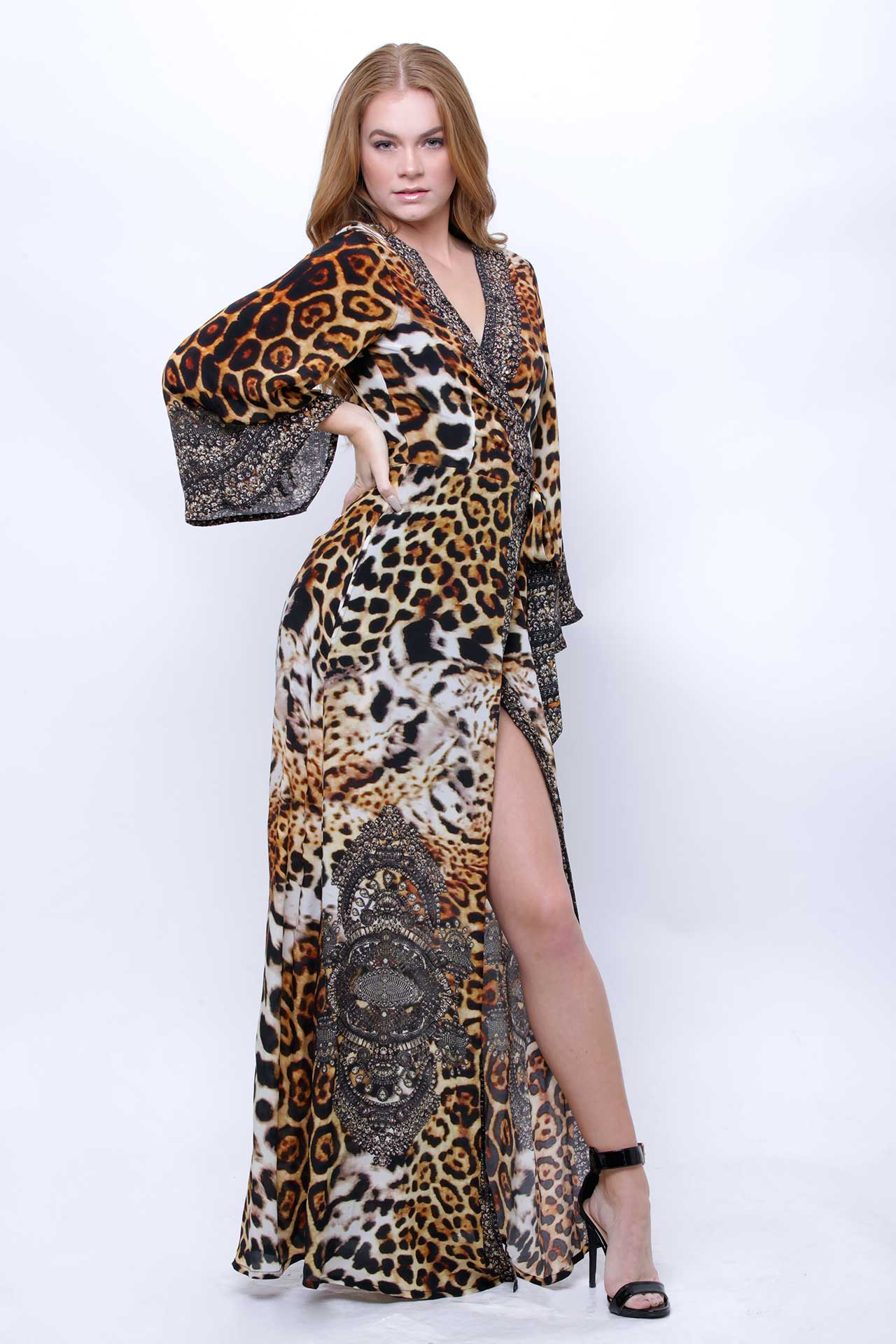 Leopard Print Long Sleeve Wrap Dress as seen on Kyle Richards in The Real Housewives of Beverly Hills