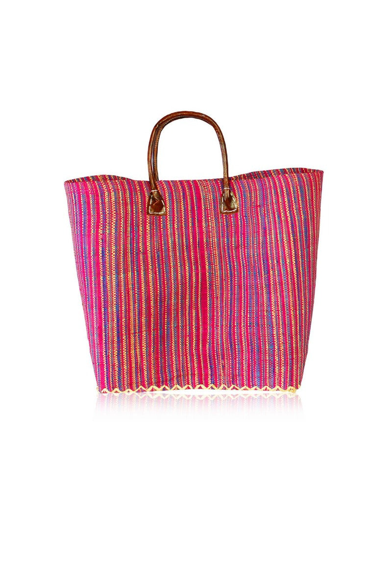 Striped Leather Tote Handbags