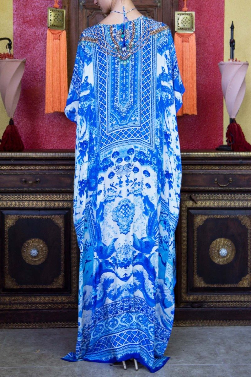 V Neck Long Kaftan blue and white
