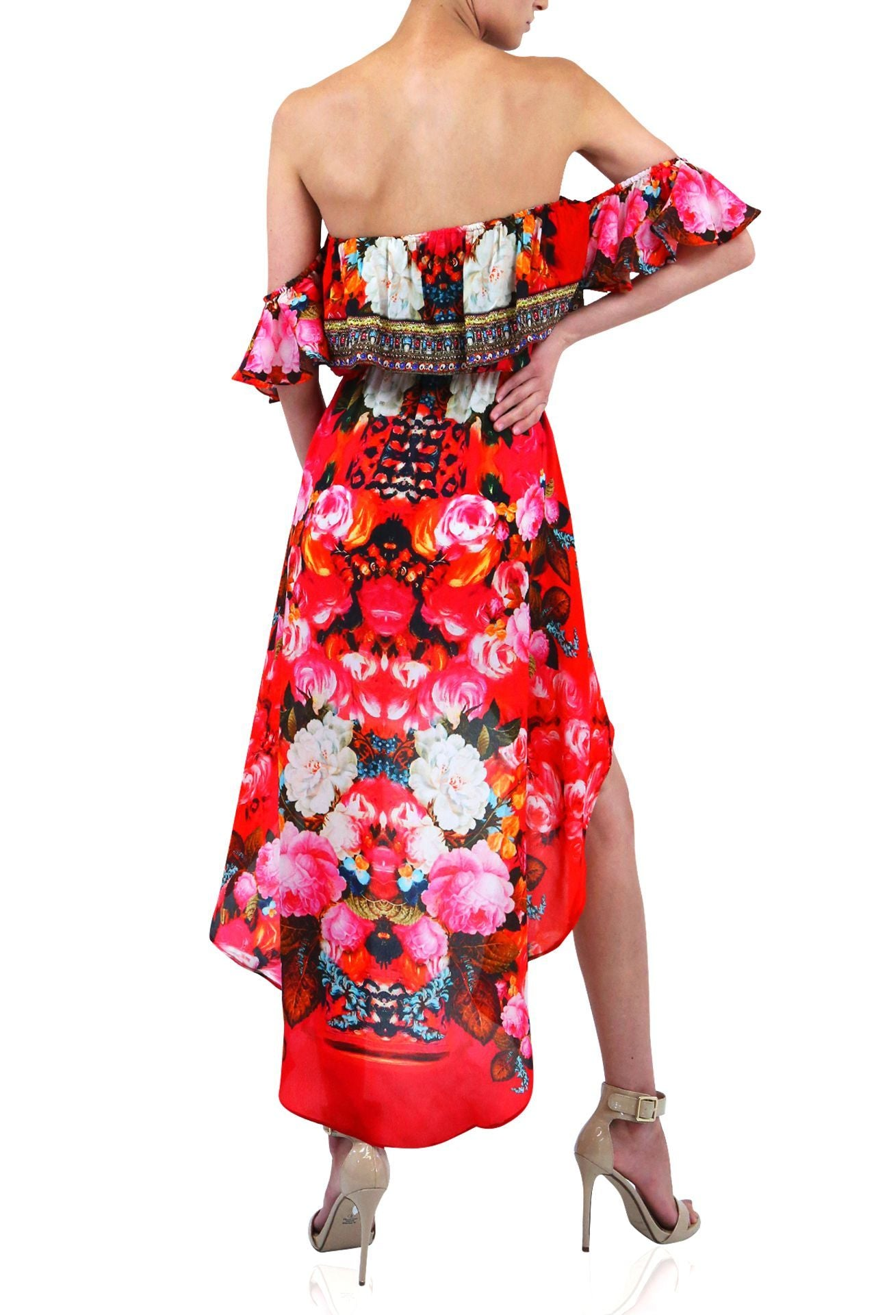 Hi Low Dress In Red Flower Print