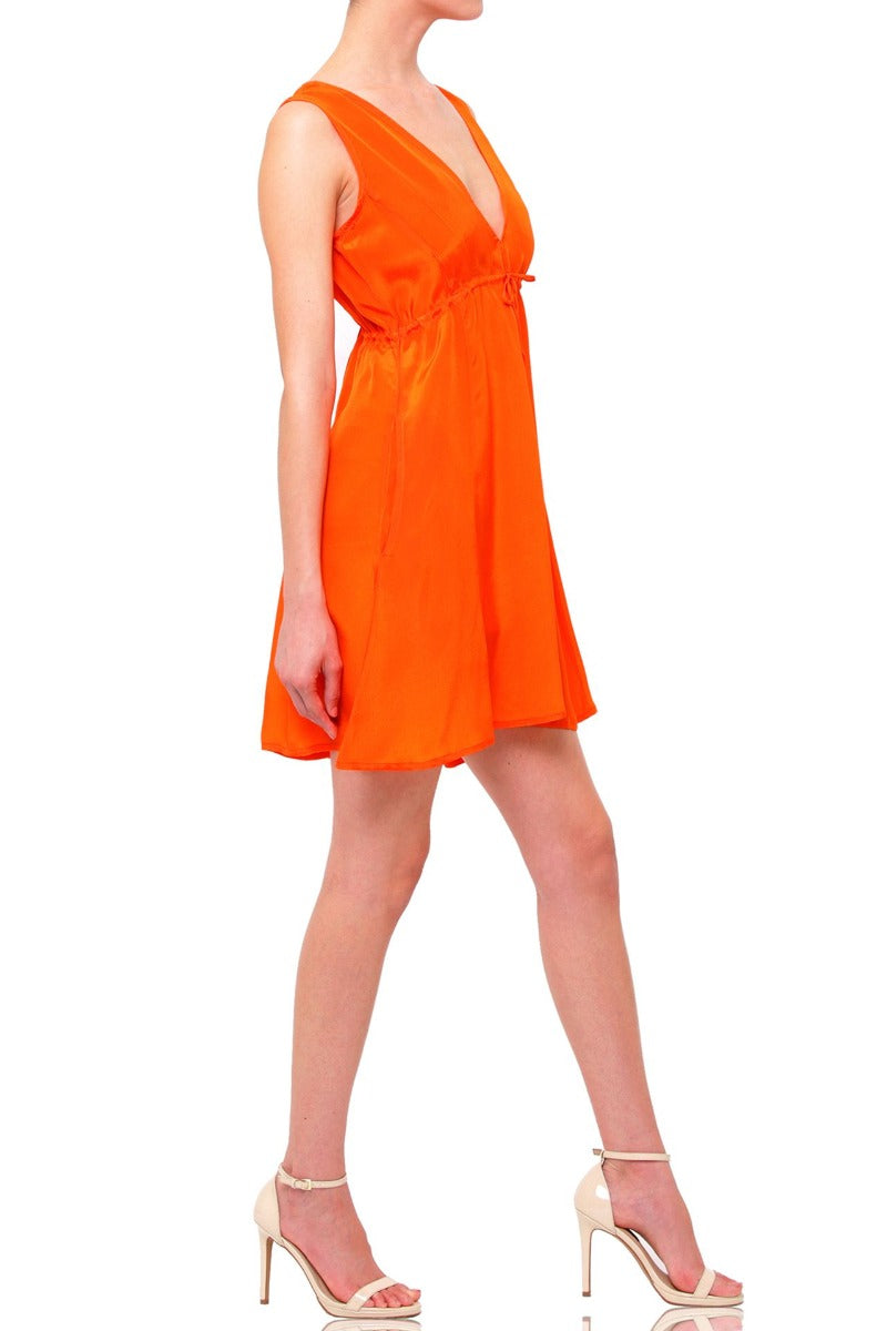 Short V Neck Dress in Orange
