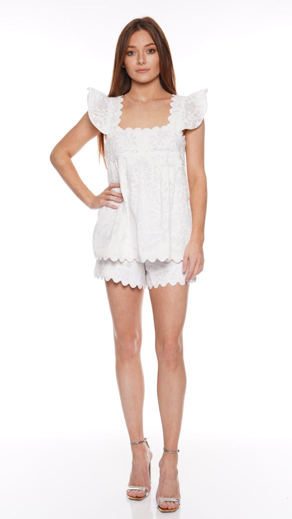 JULIET DUNN - White Scalloped Baby Doll Top