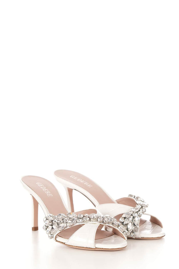 Gedebe Off-White Croco Embossed Mule with Crystals