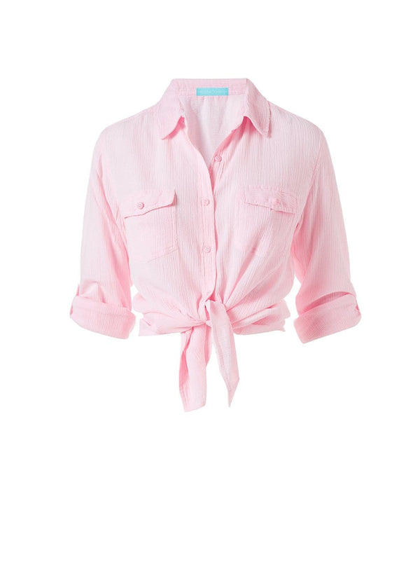 Melissa Odabash - Tash Blush Tie Front Button Down