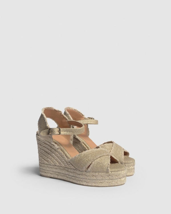 Bromelia Gold Metallic Espadrille Wedge