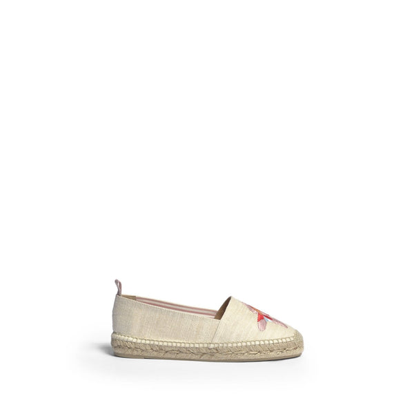 Kenda White Embroidered Espadrille