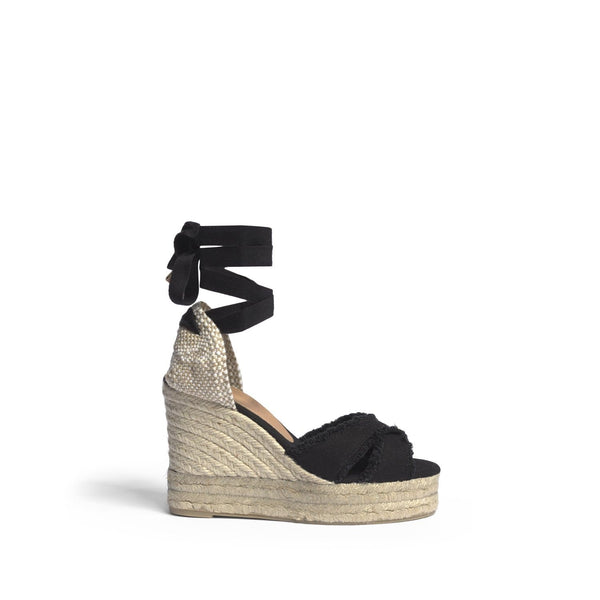 Bluma Black Tied Ankle Strap Espadrille Wedge