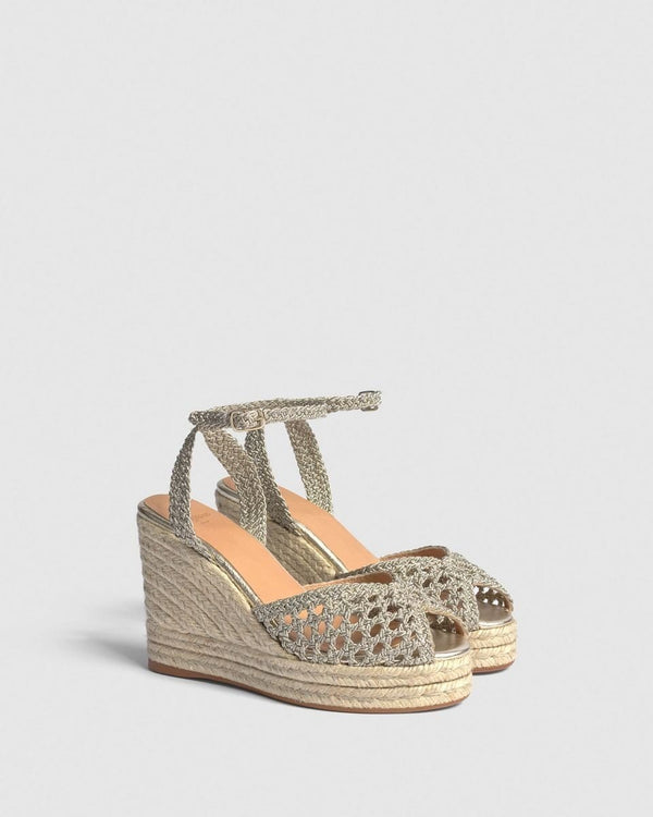 Bilba Plata Metallic Woven Crochet Espadrille Wedge