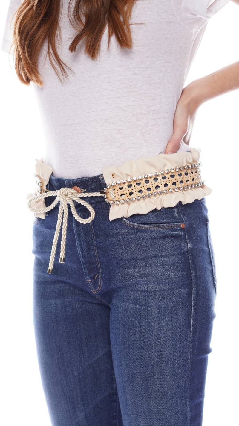 ROSANTICA Frullato Natural Wicker & Crystal Belt