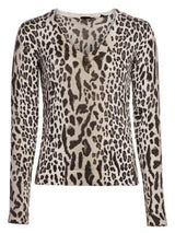 Cashmere Blend Mixed Leopard Print V-Neck Sweater