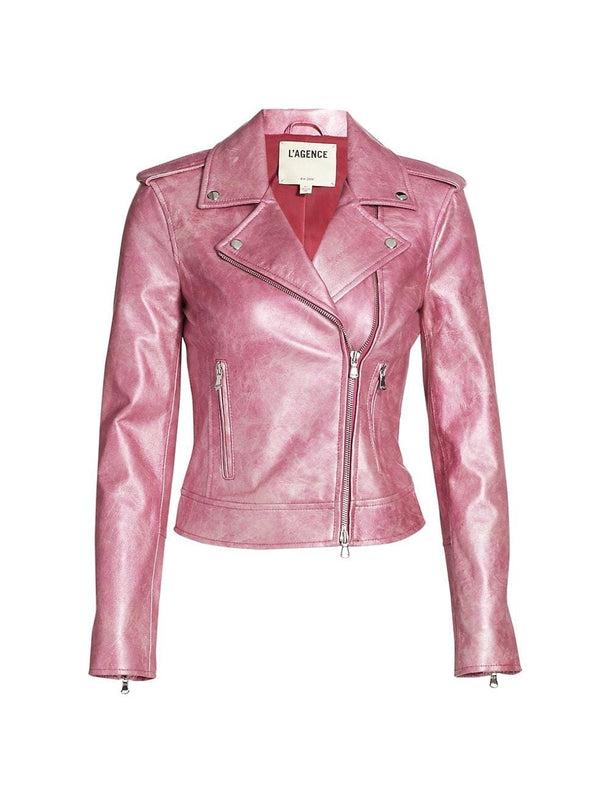 Rose Violet Leather Biker Jacket