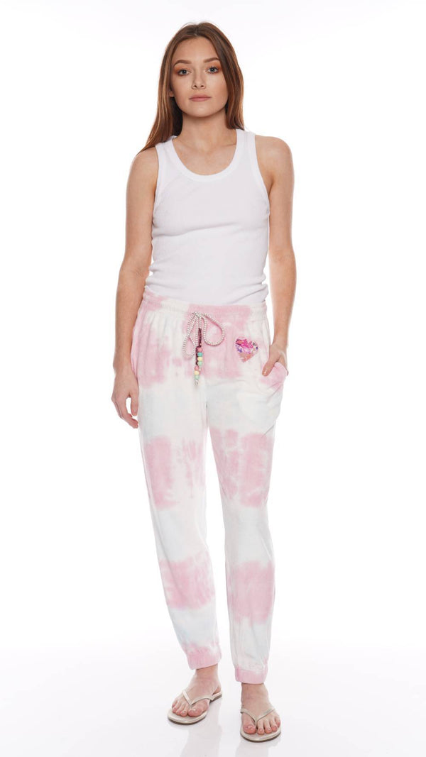 Santinella Beaded Tie-Dyed Cotton Terry Pants