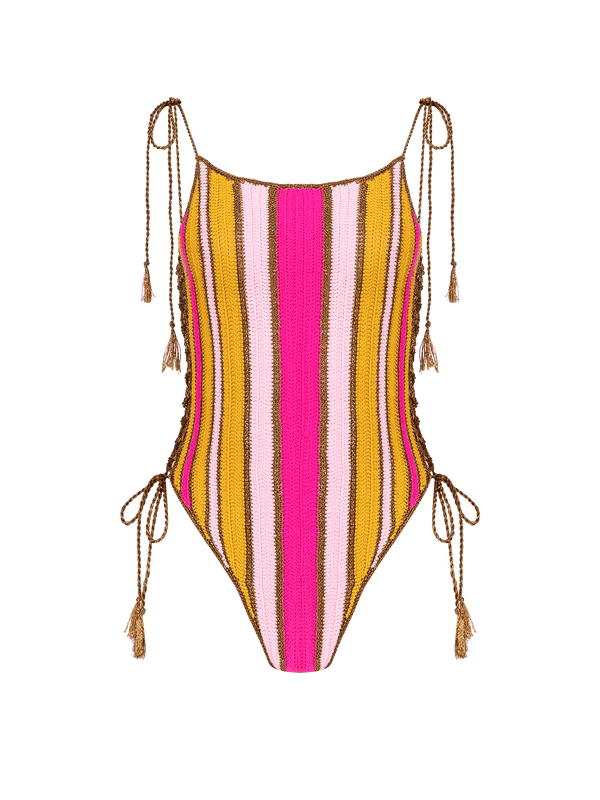 MY BEACHY SIDE - Multi Striped Crochet One Piece Swimsuit