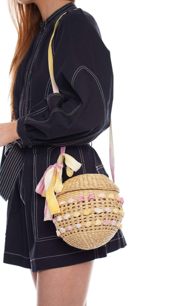 POOLSIDE - Open Weave Straw And Tie Dye Disco Ball Bag